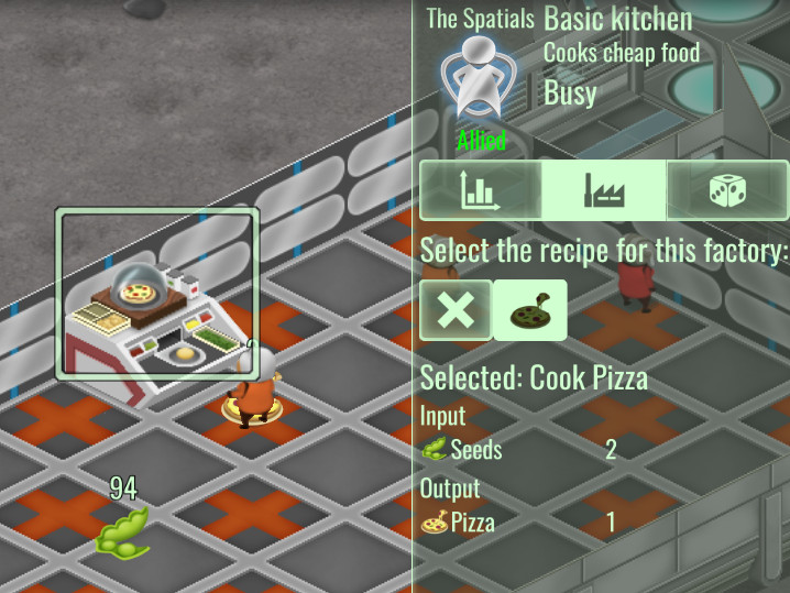 Recipe panel for factories